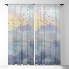 Mountain Sunrise Sheer Curtain