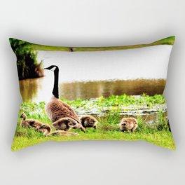Canada Goose and Goslings Rectangular Pillow