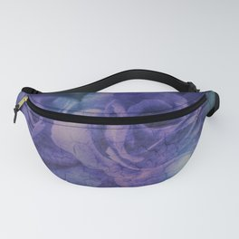 Vintage Blue and Purple Rose Abstract Fanny Pack
