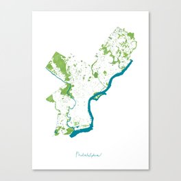 Philadelphia Map - Green Spaces Philly Parks Canvas Print