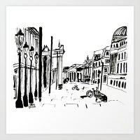 cityscape Art Prints featuring CITYSCAPE by hawwa a