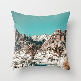 Vintage Cactus Snow & Mountains // Desert Landscape Photograph in the Mojave at Winter Red Rocks Throw Pillow