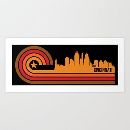 Retro Cincinnati Ohio Skyline Art Print