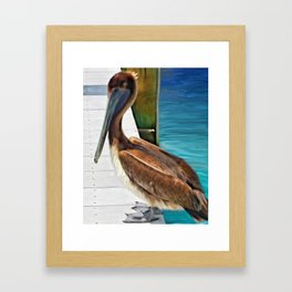 Dockside Pelican by Barbara Chichester Paintographer Framed Art Print
