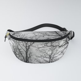 Flying tree branches, black and white Fanny Pack