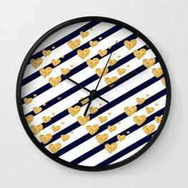 Holiday Hearts Blue and Gold #xmas #christmas #minimal #love #design Wall Clock