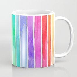 Bright Rainbow Colored Watercolor Paint Stripes Coffee Mug