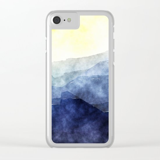 Sun behind the mountains - Modern abstract triangle pattern Clear iPhone Case