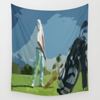golf Wall Tapestries featuring GOLF by aztosaha