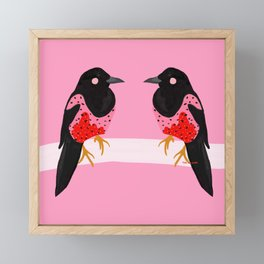 Two for joy Magpie illustration, fashion illustration, fashion prints, colourful prints Framed Mini Art Print