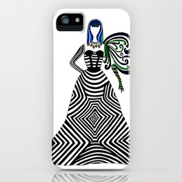 Abstract geometric quirky lady iPhone Case