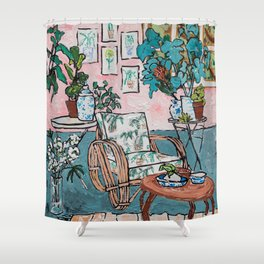 Rattan Chair in Jungle Room Shower Curtain