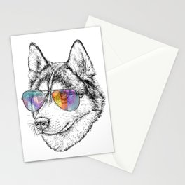 Husky Dog Graphic Art Print. Husky in glasses Stationery Cards