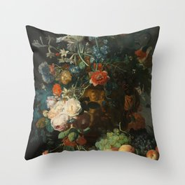 Jan van Huysum - Still Life with Flowers and Fruit Throw Pillow