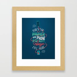 Uncharged Phone Woes Framed Art Print