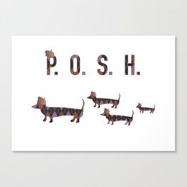 Posh Dachshund Family Canvas Print