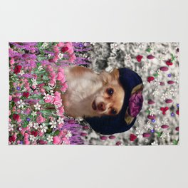 Chi Chi in Purple, Red, Pink, White Flowers, Chihuahua Puppy Dog Rug