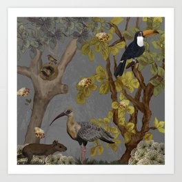 assembly of birds and one cute agouti Art Print