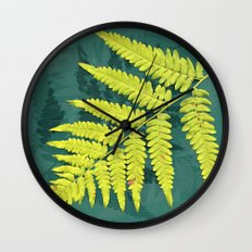 From the forest - lime green on teal Wall Clock