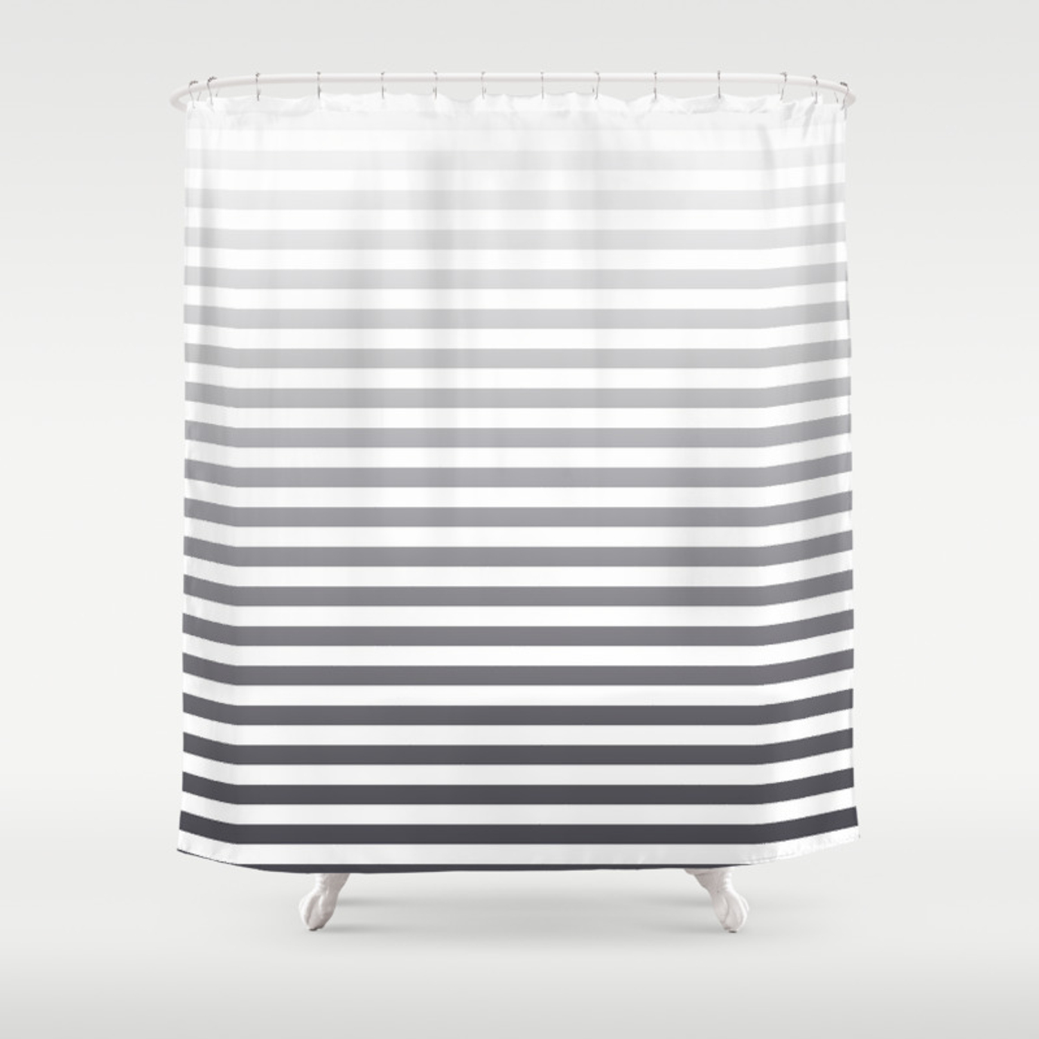 Gray And White Ombre Stripes Shower Curtain