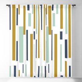 Interrupted Lines Mid-Century Modern Minimalist Pattern in Blue, Mint, and Golden Mustard Blackout Curtain