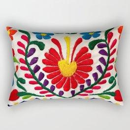 Red Mexican Flower Rectangular Pillow