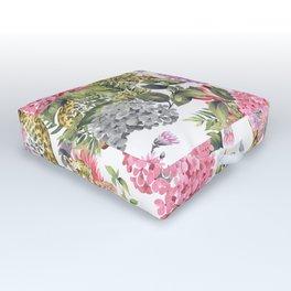 Leopards in flowery garden Outdoor Floor Cushion
