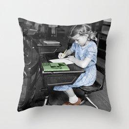 Vintage Schoolgirl Throw Pillow