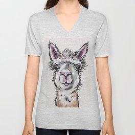 Maggie the Alpaca, Alpaca Art Unisex V-Neck