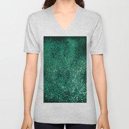 Sparkling EMERALD Lady Glitter #1 #shiny #decor #art #society6 Unisex V-Neck
