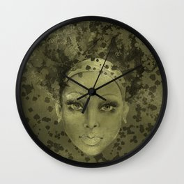 Abstract  Female Face with  card suits Wall Clock