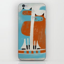 TWO CATS WAITNG iPhone Skin