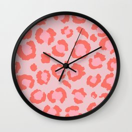 Coral Leopard Print - Living Coral design | Girly Pastel Cheetah Wall Clock