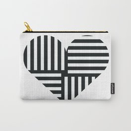 Black and White Abstract Stripe Heart Carry-All Pouch