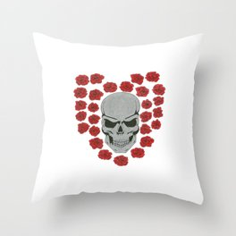 skull with heart roses Throw Pillow