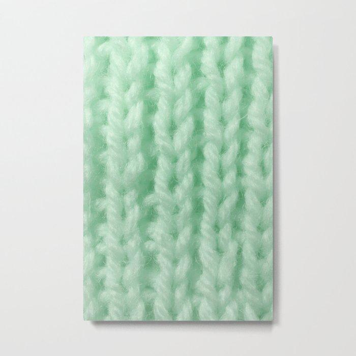 Light Green Wool Knitting Texture Metal Print