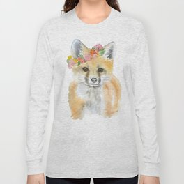 Fox Floral Watercolor Painting Long Sleeve T-shirt