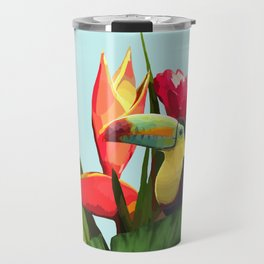 Toucan Tropical Banana Leaves Bouquet Travel Mug