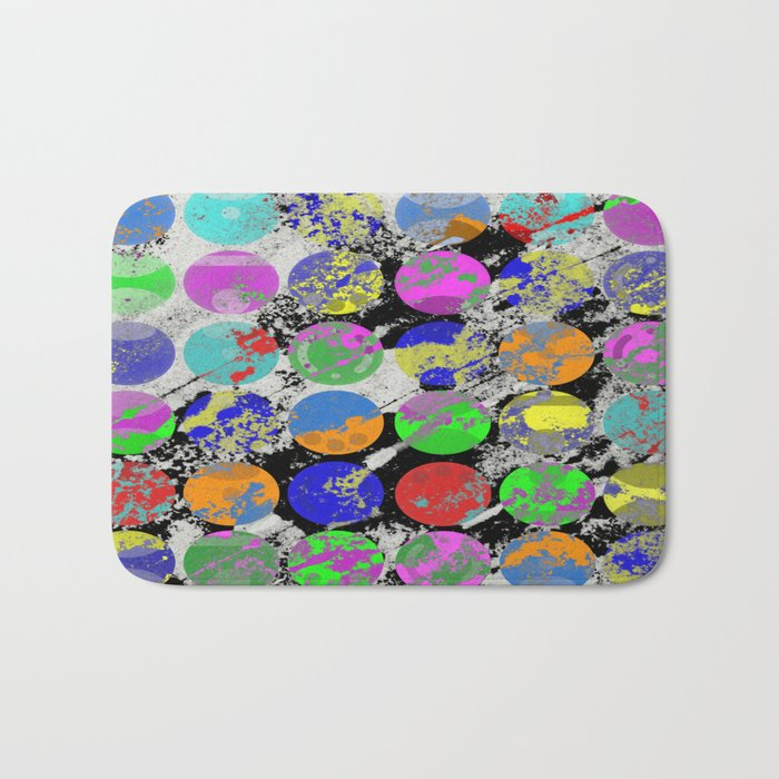 Textured Circles - Abstract, geometric, textured artwork Bath Mat