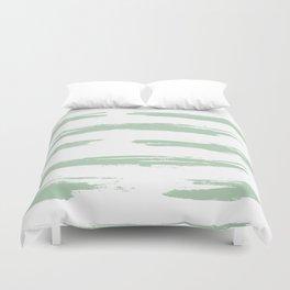 Swipe Stripe Pastel Cactus Green and White Duvet Cover