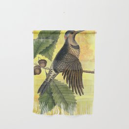 Northern Flicker with Oak, Vintage Natural History and Botanical Collage Wall Hanging