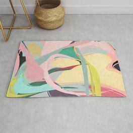 Shapes and Layers no.23 - Abstract Draper pink, green, blue, yellow Rug