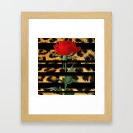 Leopard Print Black Stripes & Intertwining Rose Framed Art Print