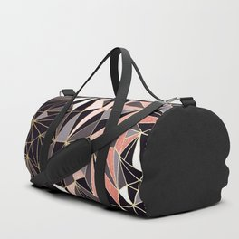 Stylish Art Deco Geometric Pattern - Black, Coral, Gold #abstract #pattern Duffle Bag