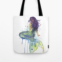 mermaid Tote Bags featuring Mermaid by Sam Nagel
