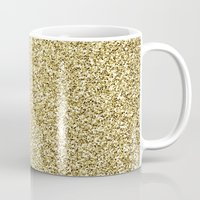 gold glitter Mugs featuring gold glitter by lamottedesign