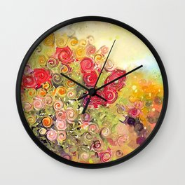 Colorful Flower Basket Painterly Abstract and Free Spirited Wall Clock