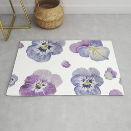 Watercolor Pansy Pattern Rug
