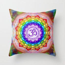 Sahasrara Chakra Series V - Rainbow Lotus Throw Pillow