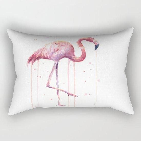 Pink Flamingo Portrait Watercolor Animals Birds | Facing Right Rectangular Pillow
